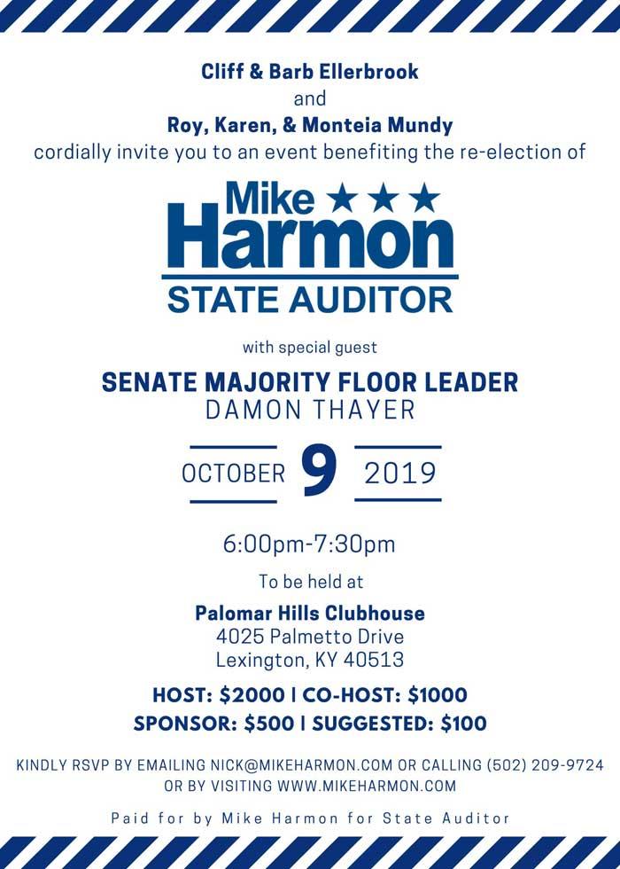 Mike Harmon for Auditor, Fundraiser